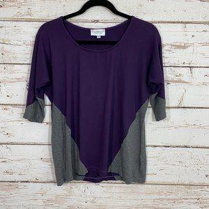 Allison izu made in hawaii gray purple top